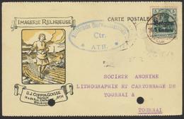 """Guerre 14-18 - OC N°2 Sur Imprimé """"Imagerie Religieuse"""" De Ath 25/6/16 + Censure Militaire Vers Tournai - Guerre 14-18"""