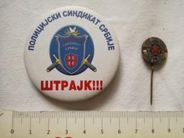 POLICE SERBIA TRADE UNION Syndicate PUBLIC Appeal STRIKE RARE PIN BADGE LOT SREMSKA KAMENICA SCHOOL OFFICER YUGOSLAVIA - Police