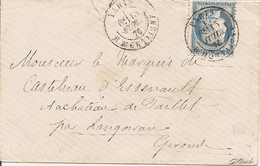 SEINE CAD Sur CERES OBLI PARIS     R.MONTAIGNE Pour CHATEAU De PAILLET Par LANGOIRAN - 1849-1876: Klassik