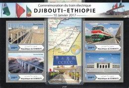 DJIBOUTI 2017 ** Trains Djibouti - Ethiopia 1000FD M/S - OFFICIAL ISSUE - DH1714 - Trains