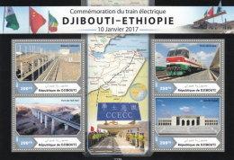 DJIBOUTI 2017 ** Trains Djibouti - Ethiopia 800FD M/S - OFFICIAL ISSUE - DH1714 - Trains