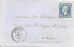 SEINE ET MARNE (73)  ENV OBLI CHAILLY (PERLE) OBLI PC 696 Sur NAP Pour PARIS + AMBULANT - 1849-1876: Klassik