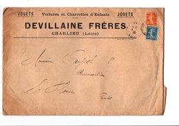 AFFRANCHISSEMENT COMPOSE SUR LETTRE A EN TETE DE CHARLIEU LOIRE 1923 - Marcophilie (Lettres)