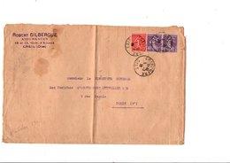 AFFRANCHISSEMENT COMPOSE SUR LETTRE DE CREIL OISE 1929 - Marcophilie (Lettres)