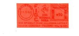 1962 Affrancatura Meccanica Rossa EMA Freistempel Frammento Cut Milano FIGC Lega Regionale Sicula Trinacria Calcio - Affrancature Meccaniche Rosse (EMA)