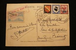 CP PJ Lyon Vignette Bron  Le Bourget Propagnade Aérienne 30/06/1946 - Postmark Collection (Covers)