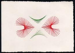 C2052 - TOP Handmade Glückwunschkarte - Ornamente Herz - Handgestickt Gestickt - Klappkarte - Holidays & Celebrations