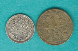 Curaçao & Dependencies Also Used In Suriname - 1 Cent - 1943 P (KM10) & 10 Cents 1942 P (KM37) - [ 4] Colonies