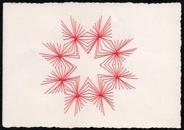 C2054 - TOP Handmade Glückwunschkarte - Ornamente Sterne - Handgestickt Gestickt - Klappkarte - Holidays & Celebrations