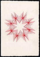C2055 - TOP Handmade Glückwunschkarte - Ornamente Sterne - Handgestickt Gestickt - Klappkarte - Holidays & Celebrations