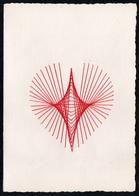 C2057 - TOP Handmade Glückwunschkarte - Ornamente Herz - Handgestickt Gestickt - Klappkarte - Holidays & Celebrations