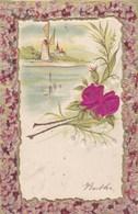 Old Postcard, Windmill, Flowers, Moulin, Fleurs, Molen, Bloemen, Relief, Gaufrée (pk54271) - Holidays & Celebrations
