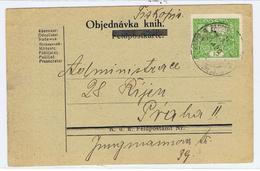 Briefkaart Met Postegel Ceskoslovenska Skopia Naar Praga  1920 - Stamps