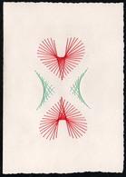 C2058 - TOP Handmade Glückwunschkarte - Ornamente Herz - Handgestickt Gestickt - Klappkarte - Holidays & Celebrations