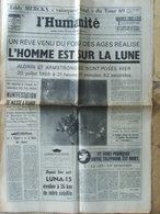 Journal L'Humanité (21 Juil 1969) Merckx Tour De France - Alfrin Et Armstrong Lune - Luna 15 - Journaux - Quotidiens