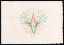 C2061 - TOP Handmade Glückwunschkarte - Ornamente Herz - Handgestickt Gestickt - Klappkarte - Holidays & Celebrations