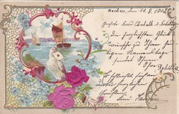 Old Postcard, Dove With A Letter, Boat. Reliëf, Gaufrée (pk54273) - Holidays & Celebrations