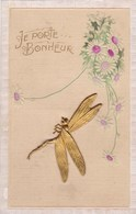 Old Postcard, Je Porte Bonheur, Brass Dragonfly, Libellulle En Laiton (pk54274) - Holidays & Celebrations