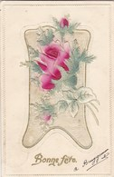 Old Postcard, Bonne Fête, Fleurs En Tissus, Lace Or Embroided Flowers (pk54275) - Holidays & Celebrations