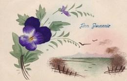 Old Postcard, Bon Souvenir, LAce Flower, Fleur En Tissu (pk54276) - Holidays & Celebrations