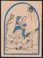 C2066 - TOP Haecker Glückwunschkarte - Mädchen Kostüm - Künstlerkarte Signiert - EAS Schwertfeger - Klappkarte - Birthday
