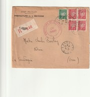 Lettre En Recommandée à 4f50 Pétain, Préfecture De La Mayenne. - Poststempel (Briefe)