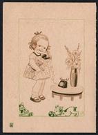 C2067 - TOP W. Sch. Glückwunschkarte - Mädchen Hund Puppe - Künstlerkarte Signiert - EAS Schwertfeger - Klappkarte - Birthday