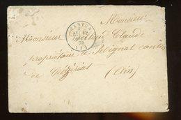 CàD De NANTUA Du 17/8/1870 + CàD D'arrivée De CEYZERIAT Du 18/8/1870 + Cachets Ambulants De Mt CENIS À MACON  17&18/8/1 - 1849-1876: Klassik
