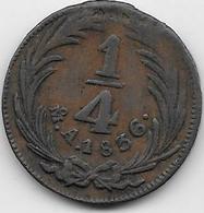 Mexique - 1/4 Real 1836 - Cuivre - Mexique