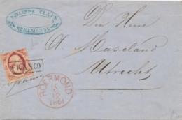 Nederland - 1861 - 10 Cent Willem III, 1e Emissie Op Complete Vouwbrief Van Roermond Naar Utrecht - 1852-1890 (Guillaume III)