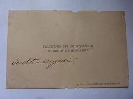 """Cartoncino  Manoscritto """"BARONE DI SCANDALE EUGENIO DI GIOVANNI Napoli"""" - Cartoncini Da Visita"""