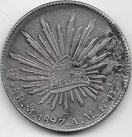 Mexique - 8 Real 1897 - Cuivre - Argent - Mexique