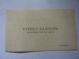 """Cartoncino """"VITOLI CARMINE COMMISSARIO DI LEVA"""" - Cartoncini Da Visita"""