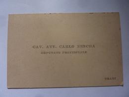 """Cartoncino """"Cav. Avv. CARLO NENCHA DEPUTATO PROVINCIALE Trani"""" - Cartoncini Da Visita"""