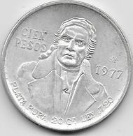 Mexique - 100 Pesos 1977 - Argent - Mexico