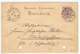 Briefkaart Van Staufen In 1888 Naar Niederschopfhein , Offenburg - 1850-1918 Empire