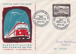 Luxembourg Luxemburg Electrification Des Chemins De Fer FDC 29-09-1956  Mi. 558 - Trains