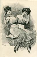 TWO RISQUE BEAUTIES ON SWING FINE OLD Postcard - Illustrators & Photographers