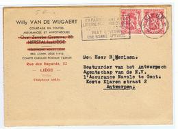 Mooie Briefkaart Van Van De Wijgaert Uit Luik Naar Antwerpen Omtrent Verzekerin Schip JOCA, Jean Sensen - 1935-1949 Sellos Pequeños Del Estado