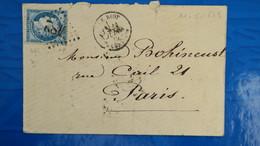 Lettre De Le Biot Haute Savoie 1875 Ceres N° 60  GC 482 Pour Paris - Marcophilie (Lettres)