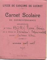 GUERET (Creuse) - LYCEE De GARCONS - CARNET SCOLAIRE 1947-48 - Externe Libre En Sciences - Livret De Notes - A Voir ! - Diplômes & Bulletins Scolaires