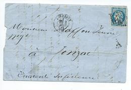 N° YT 46B Sur Lettre De Bordeaux Pour Jonzac 1871 - 1849-1876: Klassik