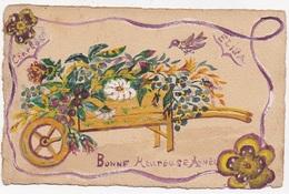 CPA PEINTE Bonne Heureuse Année  Brouette De Fleurs - New Year