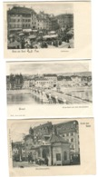 3 AK Um 1900 Gruss Aus Basel Bâle Barfüsserplatz Klein-Basel, Marktplatz Viel Leben - BS Basel-Stadt