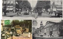 Paris Marché Du Temple, Les Halles, Abattoirs, Banque, Prison Lot De 10 Reproductions De CPA - Postcards