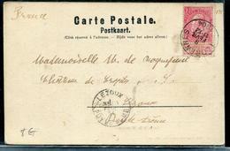 BELGIQUE - N° 57 / CPA DU LION DE WATERLOO OBL. FLORENNES LE 8/2/1904 POUR LA FRANCE - TB - 1893-1900 Schmaler Bart