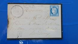 Lettre De Arzon Morbihan GC 4591 Bureau Supplémentaire Cachet Facteur A Pour Bordeaux 1874 Ceres - 1849-1876: Klassik