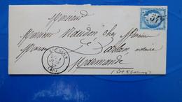Lettre De Bouglon Lot Et Garonne 1875 GC 542 Sur Ceres N° 60 Pour Marmande - Marcofilia (sobres)