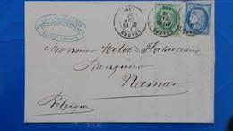 Affranchissement Bicolore Pour Lettre De Beaune Pour La Belgique Ceres N° 53 Et N° 60 Cachet A Date 1876 - 1849-1876: Klassik