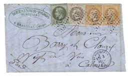 ALLIER GC3824 /YT25,27 & 28x2 C16 ST POURCAIN 3 SEPTEMBRE1871 BrC BRANSSAT DEVANT DE LETTRE - 1849-1876: Klassik